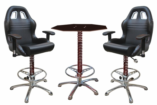 3 Piece Black Automotive Bar Furniture
