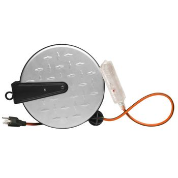 30' Metal Extension Cord Reel with Diamond Plate