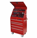 "30"" Portable Workstation/5 Drawer Roller Cabinet Combo, Red"