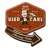 30's USED CAR 3-D Metal Sign