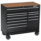 "41"" Black 11 Drawer Tool Cabinet with Liners and Upgraded Casters"
