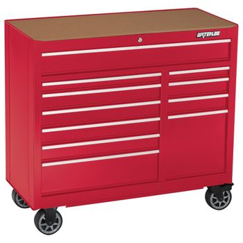 "41"" Red 11 Drawer Tool Cabinet with Liners and Upgraded Casters"