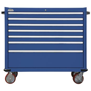 "46"" 6 Drawer Tool Cabinet with Pull Out Work Table - Blue"