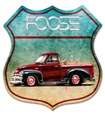 54 Red Truck Metal Sign