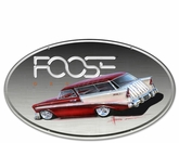 56 Burgandy and White Oval Metal Sign