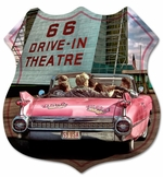 66 DRIVE IN THEATRE SHIELD SHAPE Metal Sign