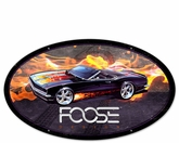 68 Black With Flames Car Metal Sign