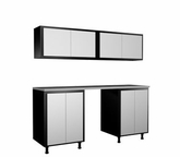 72'' Wide x79'' Height x21'' Depth Silver and Black Cabinets