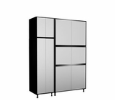 72'' Wide x92'' Height x24'' Depth Silver and Black Cabinets