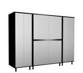 96'' Wide x68'' Height x24'' Depth Silver and Black Cabinets