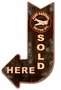 Aero Eastern Sold Here Arrow Metal Sign