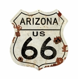 Arizona US 66 Shield Vintage Plasma Metal Sign