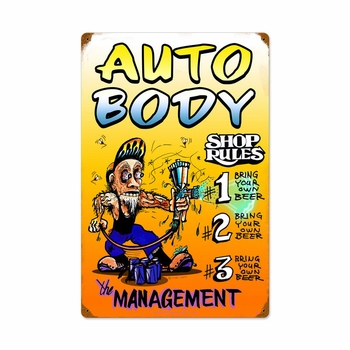 Auto Body Shop Rules Metal Sign