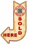 Be Square Sold Here Arrow Metal Sign