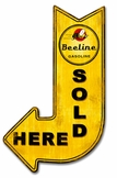 Beeline Gasoline Sold Here Arrow Metal Sign