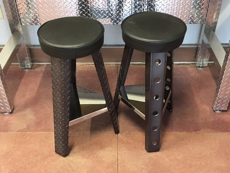 Black Chrome Aluminum or Diamond Plate Shop Stool