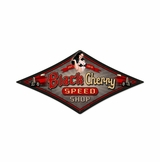 Black Cherry Speed Shop Metal Sign