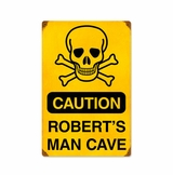 Caution Man Cave with Wood Frame Metal Sign