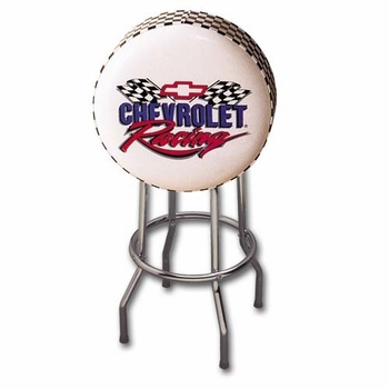 Made in the USA Chevy Racing Stool With Checkered Band