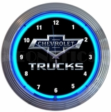 Chevy Trucks 100th Anniversary Blue Neon Clock