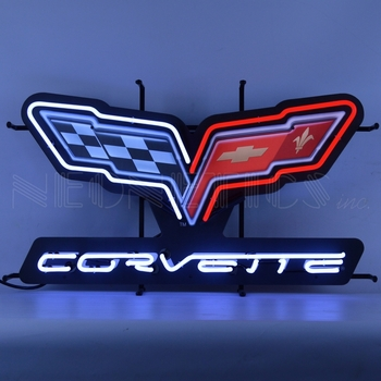 Corvette C6 Flags Neon Sign With Backing
