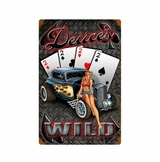 Deuces Wild Hot Rod Sign Metal Sign