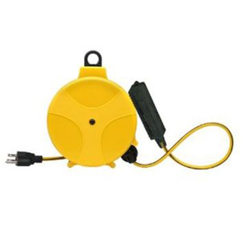 Extension Cord Reel, 20 Foot, 16/3, with Triple Tap Outlet, Plastic Housing