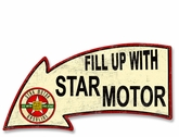 Fill Up With Star Motor Gasoline Arrow Metal Sign