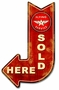 Flying A Red Sold Here Arrow Metal Sign