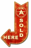 Flying A Sold Here Arrow Metal Sign