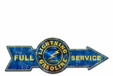 Full Service Lightning Gasoline Metal Sign