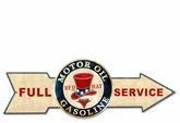 Full Service Red Hat Gasoline Metal Sign