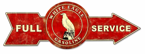 Full Service White Eagle Gasoline Metal Sign