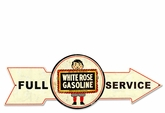 Full Service White Rose Gasoline Metal Sign
