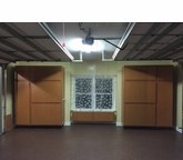 Garage with Window Wood Storage Cabinets