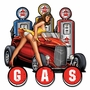 Gas Pump Pinup Hot Rod Metal Sign