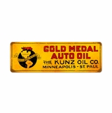 Gold Metal Oil Kunz Metal Sign