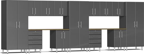 Graphite Grey Metallic MDF 15-Piece Kit with Dual Workstation