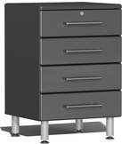 Graphite Grey Metallic MDF 4-Drawer Base Cabinet