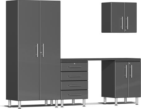 Graphite Grey Metallic MDF 5-Piece Kit with Workstation