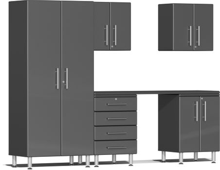 Graphite Grey Metallic MDF 6-Piece Kit with Workstation