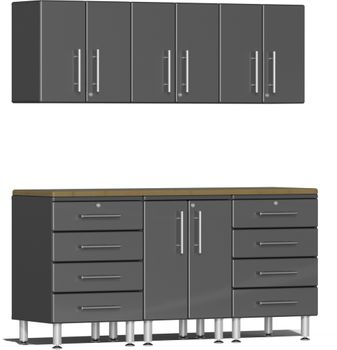 Graphite Grey Metallic MDF 7-Piece Kit with Bamboo Worktop