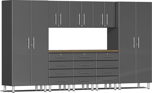Graphite Grey Metallic MDF 9-Piece Kit with Bamboo Worktop