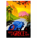 Greece Auto Travel Metal Sign
