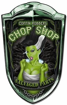 Grill Sign Chop Shop Babe Metal Sign