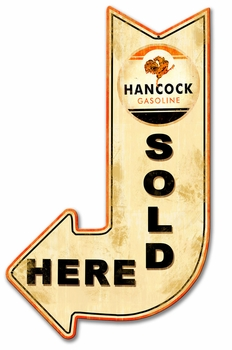 Hancock Sold Here Arrow Metal Sign