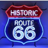 Historic Route 66 Neon Sign With Backing