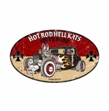 Hot Rod Hell Kats Metal Sign