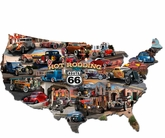 HOT ROD ROUTE 66 MAP Metal Sign