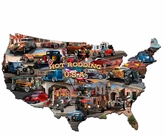 HOT ROD USA MAP Metal Sign